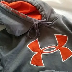 Under Armour grey and orange hooded sweatshirt